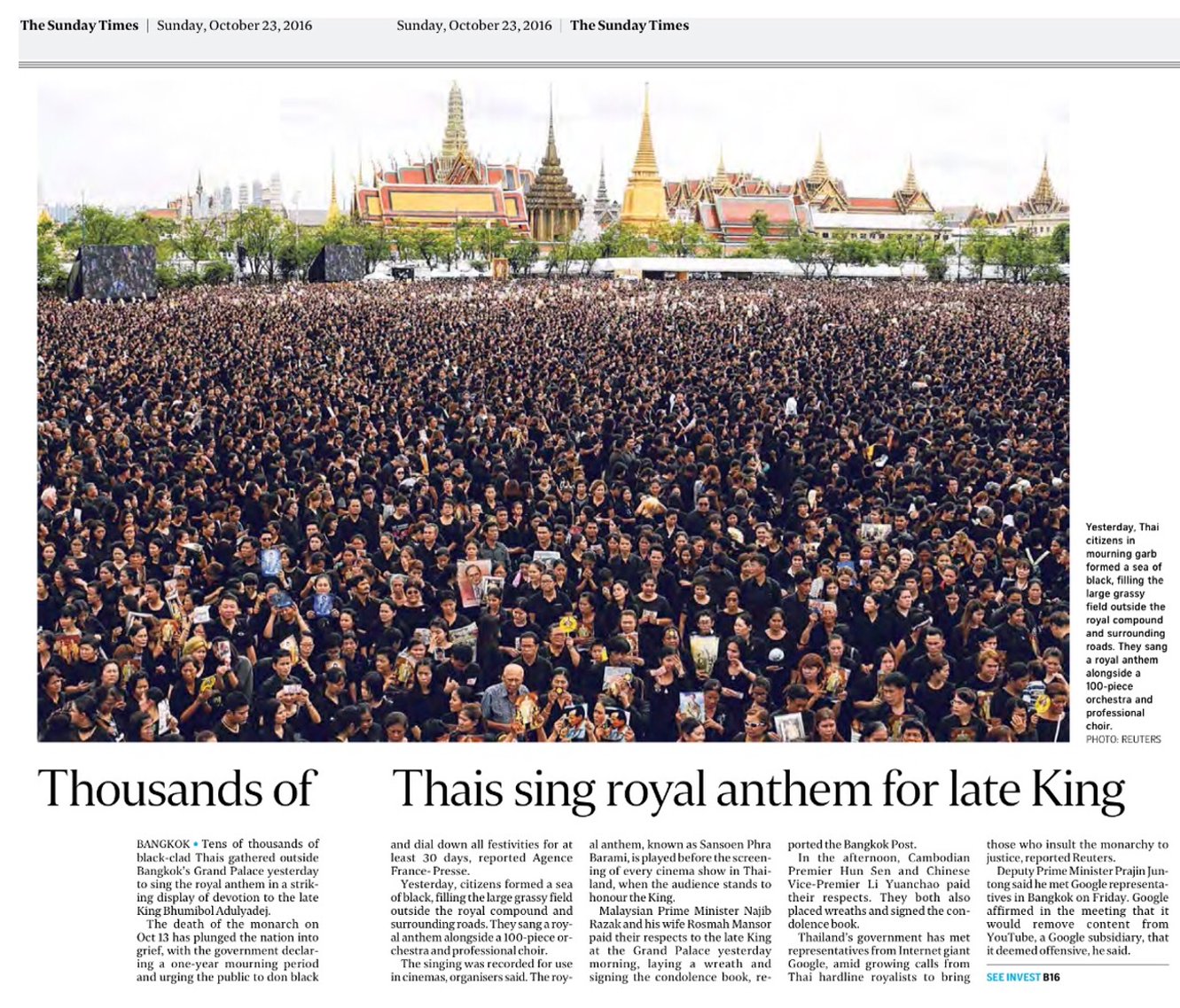 Winning with Honour  l  Straits Times 20161023  l  Thousands of Thais sing royal anthem for late King.png